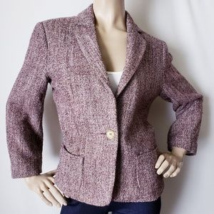 Barneys New York Purple & Pink Woolen Tweed Blazer